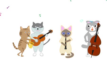 clarinet : Cat concert. Cats sing songs and play instruments.