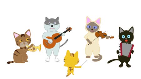 trombeta : Cat concert. Cats sing songs and play instruments.