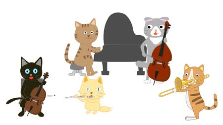 clarinet : The concert of the cat. Cats who play instruments. Stock Footage