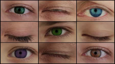 eyes closed : Nine different people eyes closed and opened. All irises - different colors