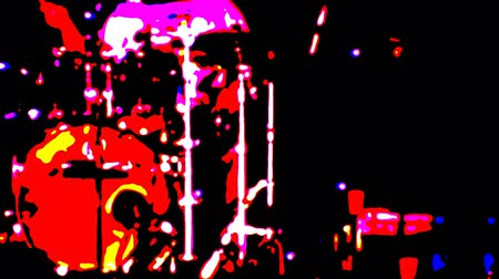 барабаны : Concert. The drummer plays on the stage. Only primary colors without halftone Стоковые видеозаписи