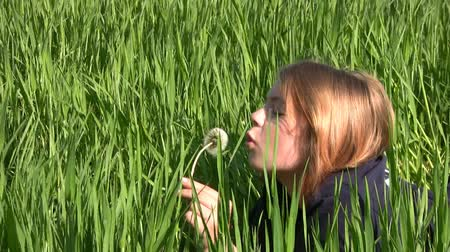 üfleme : The lush green grass. A teenage girl lying on stomach and blowing on a dandelion. The sun gilded her hair and skin