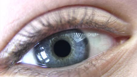 bulva oční : The eye of a young woman is very large. No make-up. Pupil breathes - increases and decreases. No effects