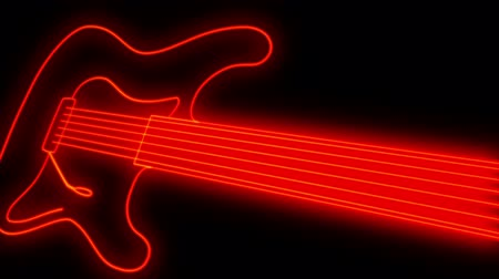 rocks red : The black background. Running a luminous red line forms the shape of electric guitar