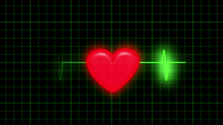 dövmek : Dark background with a coordinate grid. The green line ECG. Character beats a healthy heart. At the heart appear traces of damage - ECG changes shape and color to red