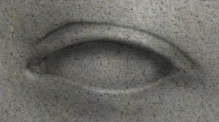 çatlaklar : Living eye turns in the eye from granite. Granite covered with cracks. Stone eye falling to pieces Stok Video