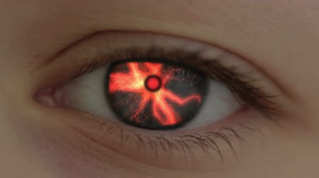 sinir : The human eye is transformed into the eye of the beast. Lightning are flashing. Hell-fire is lit