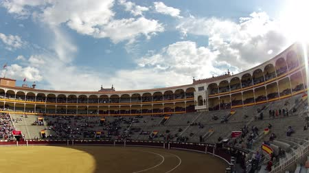 bullfight : Spain. Madrid. Bullring Las Ventas. Unidentified spectators goes to their seats before the fight bulls. Timelapse