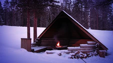 kamp ateşi : Winter forest. A lot of snow. Twilight. Lit a fire under a canopy for the tourists