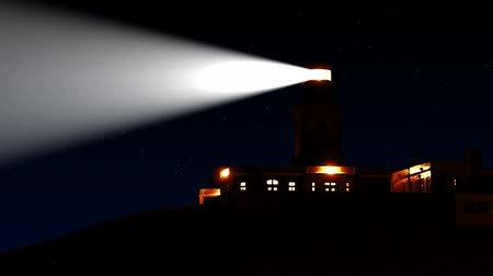 night : Real lighthouse on Cabo da Roca. Seamless loop Stock Footage
