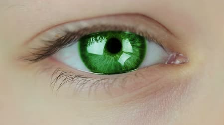 olhos verdes : Human eye close-up. Iris color is changing. Seamless loop