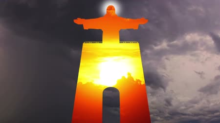 christus : Statue of Christ the King (Cristo Rei) in Lissabon. HD-Montage mit dem Himmel. Zeitraffer Videos