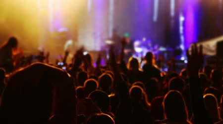 music band stage : Rock music concert. A lot of spectators. Head, hands and applause Stock Footage
