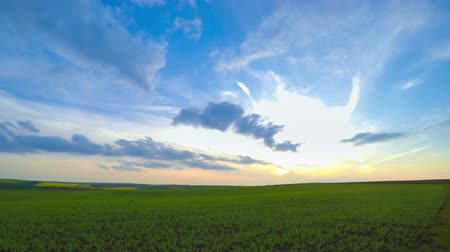 pasture land : Czech Republic. Hilly fields of the South Moravia. Clouds run fast and the sun sets. Time lapse UHD