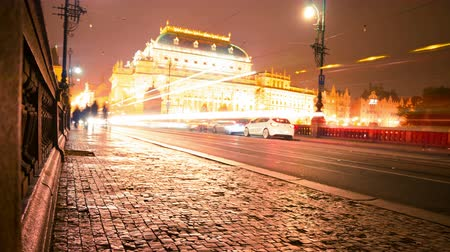 prague bridge : Czech Republic. Prague. Evening traffic on the bridge of Legions. View of the National Theatre. Time lapse 4K