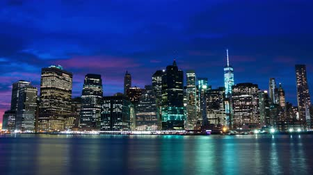 urban skyline : USA. New York City. The evening lights of Manhattan. Time lapse