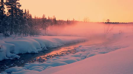 finlandês : Lapland. Winter forest. All covered with a thick layer of snow. The last colours of the sunset and the evening mist over the river