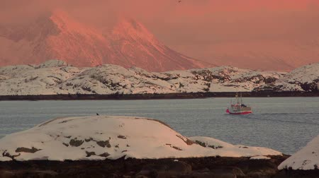 port n : Winter. The North Of Norway. A fishing boat sails in the fjord between snow-capped mountains at sunset