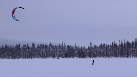 коршун : Large frozen lake in Lapland. Snowkiteer flies against the backdrop of an endless forest Стоковые видеозаписи