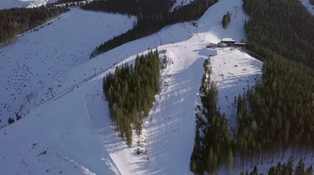 snowbord : Slovakia. Ski resort Jasna in sunny weather. Vertical panorama of the ski slopes. Aerial view Wideo