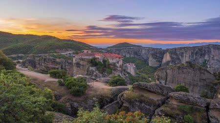 kalambaka : Greece. Summer dawn over a Greek rock monastery in Meteora (near Kalambaka). Time lapse