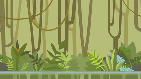Animated background. Green jungle forest with river. Flat animation, parallax