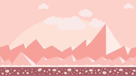Animated background. Desert landscape with montains, sun and clouds in pink color.. Flat animation, parallax. Footage