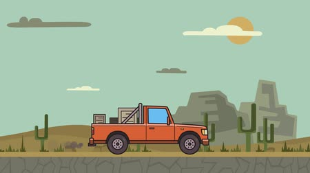 Animated pickup truck with boxes in the trunk riding through canyon desert . Moving delivery car on desert landscape background. Flat animation