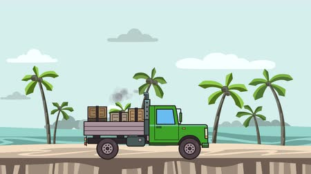 Animated green truck with boxes in the trunk riding on the beach. Moving vehicle on seascape, side view. Flat animation