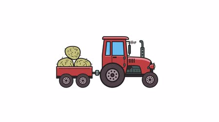 Animated tractor with trolley full of hay. Moving farm vehicle, side view. Flat animation. Isolated on white background Stock Footage