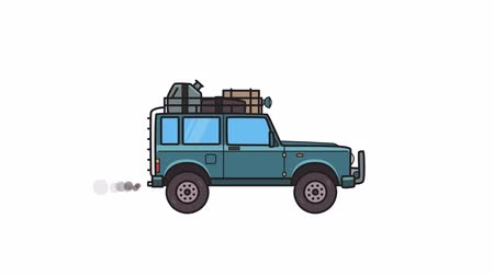 Animated SUV car with luggage on the roof trunk. Moving off-road vehicle with cargo on top, side view. Flat animation. Isolated on white background