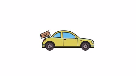 Animated coupe car with luggage on the rear hood. Hatchback. Flat animation. Isolated on white background
