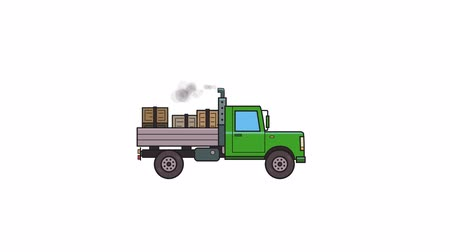 Animated green truck with boxes in the trunk. Moving heavy car, side view. Flat animation. Isolated on white background