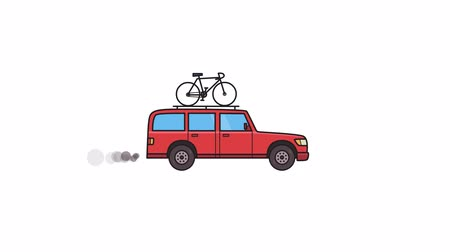 Animated SUV car with bicycle on the roof trunk. Moving minivan, side view. Flat animation. Isolated on white background