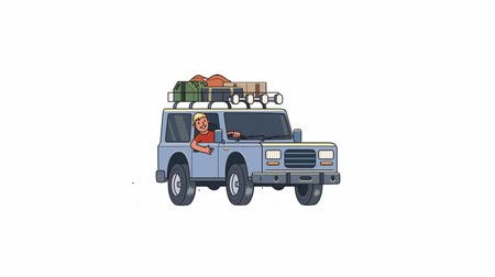 Animated car with luggage on the roof and smiling guy behind the wheel. Moving off-road vehicle. Flat animation. Isolated on white background