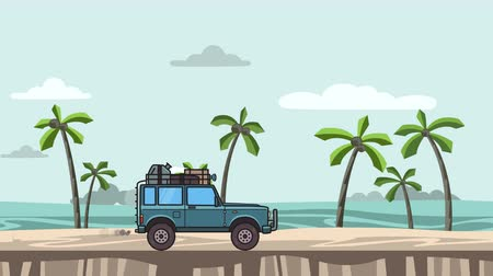 Animated SUV car with luggage on the roof trunk riding on the beach. Moving off-road vehicle on seascape, side view. Flat animation