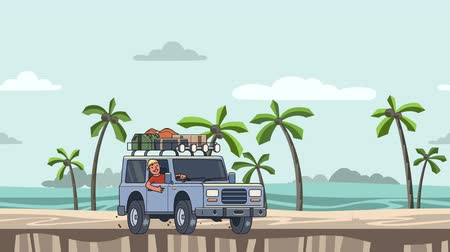Animated car with luggage on the roof and smiling guy behind the wheel riding on the beach. Moving vehicle on seascape. Flat animation Stock Footage