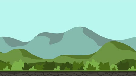 Animated landscape background. Green landscape with trees and hills. Flat animation, parallax. Footage