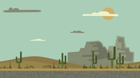 Animated background. Desert landscape with cactuses, stones and mountains. Flat animation, parallax. Footage