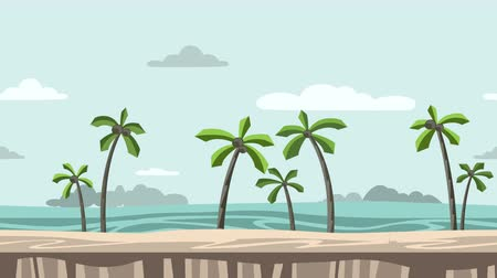 Animated background. Beach with palm trees and rocks on horizon. Moving sea-side view. Flat animation, parallax. Footage.