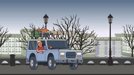 Animated car with luggage on the roof and smiling guy behind the wheel riding through autumn city. Moving vehicle on town park background. Flat animation