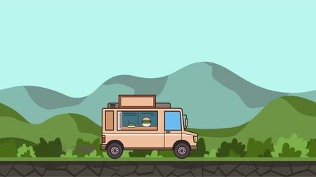 Animated food truck riding through green valley. Moving vehicle on rural landscape background. Flat animation Stock Footage