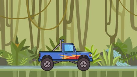 Animated big wheel monster truck riding through rainforest. Moving bigfoot truck on jungle and river background. Flat animation Stock Footage