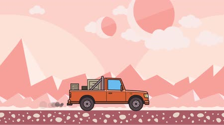 Animated pickup truck with boxes in the trunk riding through pink extraterrestrial desert. Moving delivery car on mountain desert background. Flat animation Stock Footage