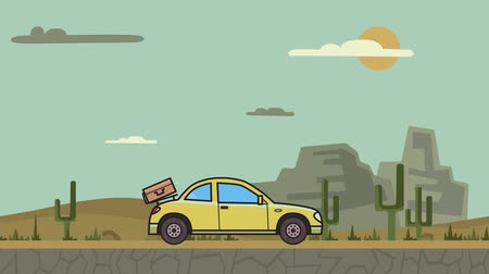 kompakt : Animated coupe car with luggage on the rear hood riding through canyon desert. Moving hatchback on mountain desert background. Flat animation Stok Video