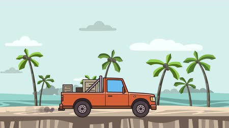 Animated red pickup truck with boxes in the trunk riding on the beach. Moving delivery car on seascape, side view. Flat animation