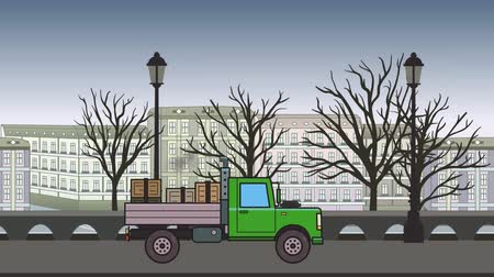Animated green truck with boxes in the trunk riding through autumn city. Moving heavy car on cityscape background. Flat animation Stock Footage
