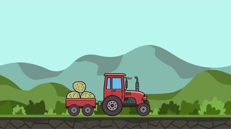 Animated tractor with trolley full of hay riding through green valley. Moving farm vehicle on hilly landscape background. Flat animation Stock Footage