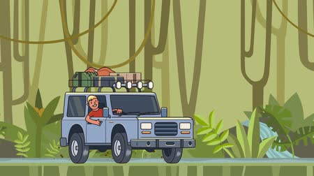 Animated car with luggage on the roof and smiling guy behind the wheel riding through the rainforest. Moving vehicle on jungle forest background. Flat animation