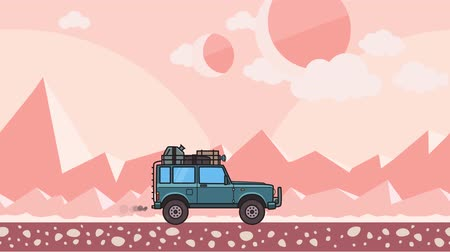 Animated SUV car with luggage on the roof trunk riding through extraterrestrial desert landscape. Moving off-road vehicle on pink mountain desert background. Flat animation